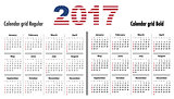 Calendar 2017 English SF normal and bold usa flag colors