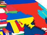 Ukraine on globe with flags