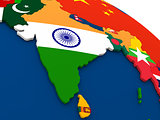 India on globe with flags