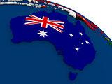 Australia on globe with flags