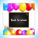 Back to school balloons panel background