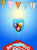 Bingo balls in a glass with cards and bunting