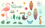 Vector set of tropical plants and animals.