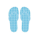 Flip flops, Slippers with anchors pattern on blue background