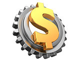 dollar and gear wheel
