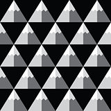 Geometric monochrome seamless pattern with mountains - winter background