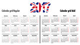 Calendar grid for 2017 with United Kingdom flag colors on 2017