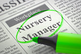 Nursery Manager Hiring Now.
