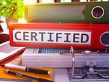 Red Office Folder with Inscription Certified.