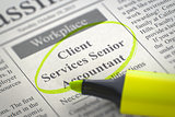 Job Opening Client Services Senior Accountant.