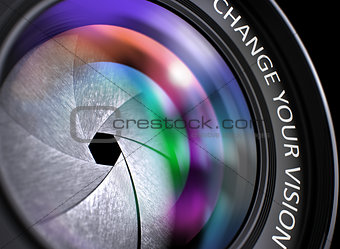 Change Your Vision on Photographic Lens. Closeup.