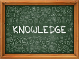 Knowledge Concept. Green Chalkboard with Doodle Icons.