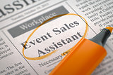 We're Hiring Event Sales Assistant.