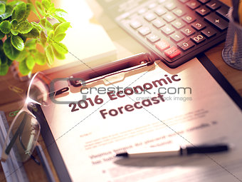 2016 Economic Forecast on Clipboard.