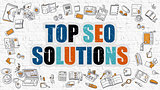 Multicolor Top SEO Solutions on White Brickwall.