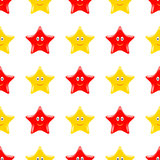 Yellow Red Smiling Star Seamless Pattern