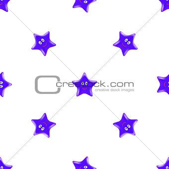 Blue Star Seamless Pattern