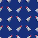 Space Rocket Flying on Blue Sky Seamless Pattern