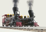 Two Old American Steam Locomotive 3D illustration