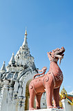 Red Lion statue at Wat Phra That Hariphunchai