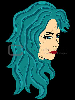Abstract female with turquoise hair over black