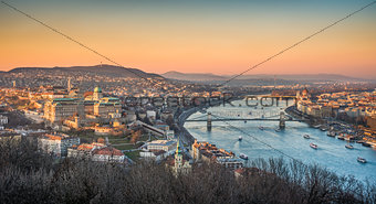 Cityscape of Budapest, Hungary at Sunset