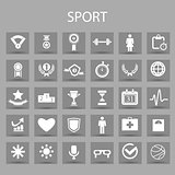 Vector flat icons set and graphic design elements. Illustration with sport, fitness outline symbols.