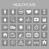 Vector flat icons set and graphic design elements. Illustration with medical, medicine, healthcare outline symbols.