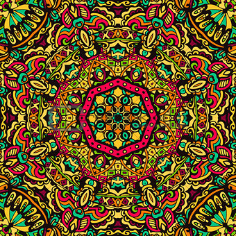 Abstract festive mandala vector ethnic tribal pattern