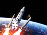Space Launch System Solid Rocket Boosters Separation Over The Earth