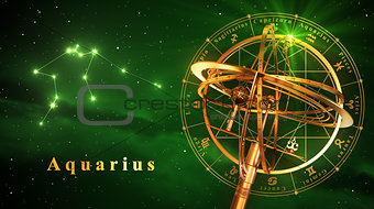 Armillary Sphere And Constellation Aquarius Over Green Background