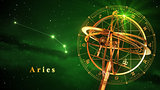 Armillary Sphere And Constellation Aries Over Green Background