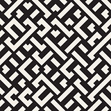 Vector Seamless Black and White Diagonal Maze Lines Geometric Pattern