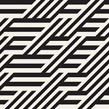 Vector Seamless Black and White Diagonal Lines Irregular Geometric Pattern