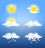 Realistic transparency sun and clouds in weather icons set
