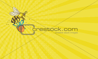 Business card Bee Carrying Honey Pot Drawing