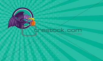Business card Dragon Fire Holding Basketball Circle Retro