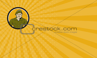 Business card Ranger Standing Attention Circle Cartoon