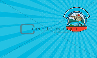 Business card Sea Trout Hunter Shooting Circle Retro