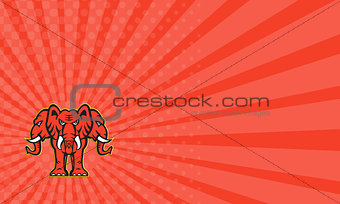 Business card Three Headed Elephant Standing Retro