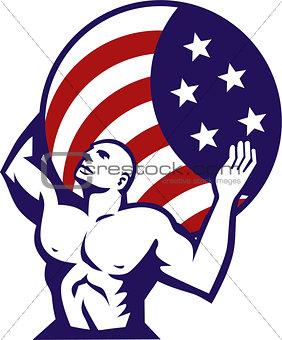 Atlas Carrying Globe USA Flag Retro