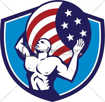 Atlas Carrying Globe USA Flag Crest Retro