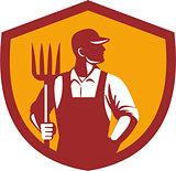 Organic Farmer Pitchfork Crest Retro