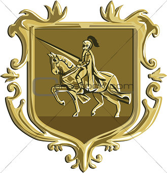 Knight Riding Steed Lance Coat of Arms Retro