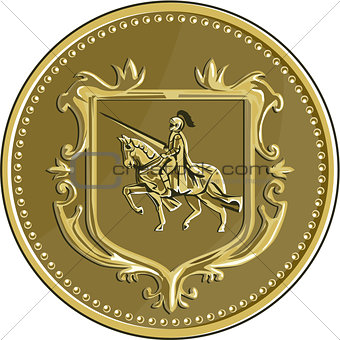Knight Riding Steed Lance Coat of Arms Medallion Retro