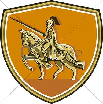 Knight Riding Steed Lance Shield Retro