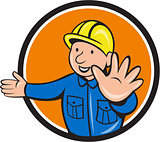 Builder Hand Stop Signal Circle Cartoon
