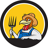 Chicken Farmer Pitchfork Circle Cartoon