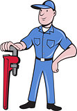 Plumber Standing Pipe Wrench Cartoon