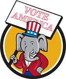 Republican Elephant Mascot Vote America Circle Cartoon